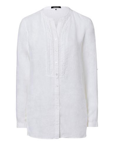 Olsen Pintuck Linen Blouse-WHITE-EUR 34/US 4 plus size,  plus size fashion plus size appare