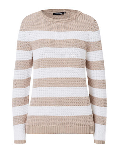 Olsen Striped Tunic Sweater-BEIGE-EUR 44/US 14