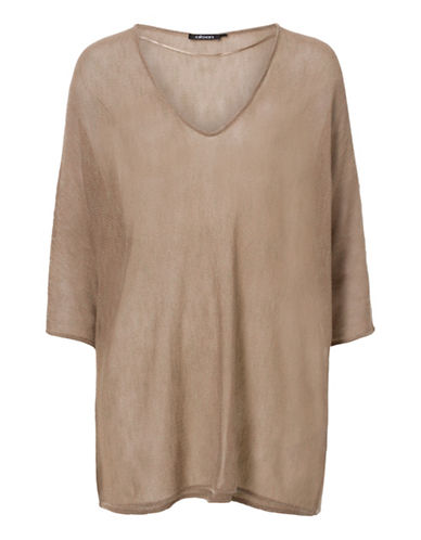 Olsen Deep V-Neck Dolman Sweater-BEIGE-EUR 38/US 8