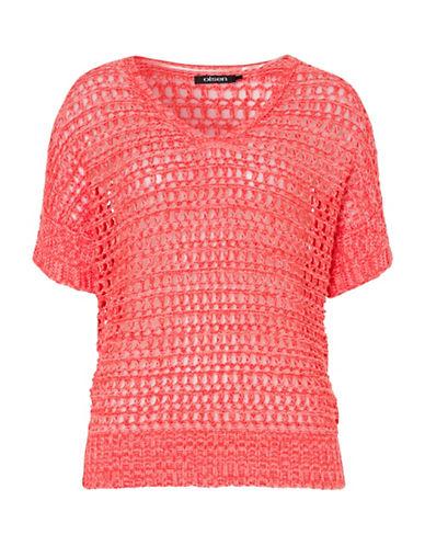 Olsen Short-Sleeve Crochet Sweater-ORANGE-EUR 36/US 6