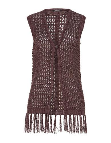 Olsen Crochet Fringe Vest-BROWN-EUR 34/US 4