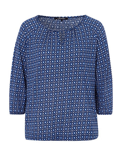 Olsen Three-Quarter Sleeve Diamond Print Top-NAVY-EUR 36/US 6
