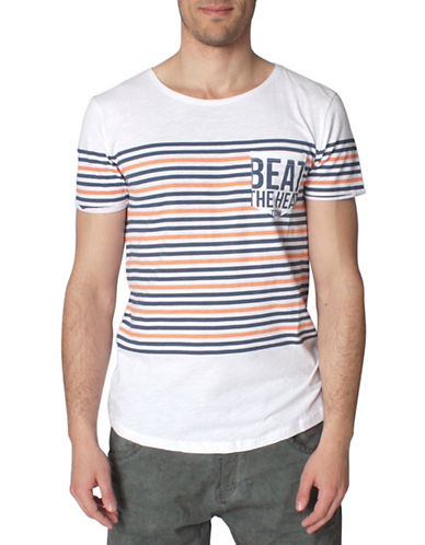 Tom Tailor Loose Knitted Slub Stripe T-Shirt-BLUE-Large 88449182_BLUE_Large