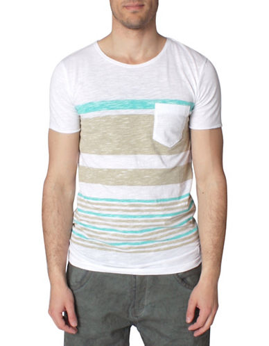 Tom Tailor Loose Knitted Slub Stripe T-Shirt-GREEN-Medium