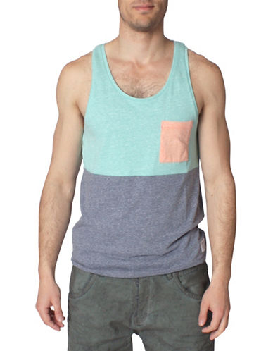 Tom Tailor Melange Cut and Sew Tank Top-GREEN-XX-Large