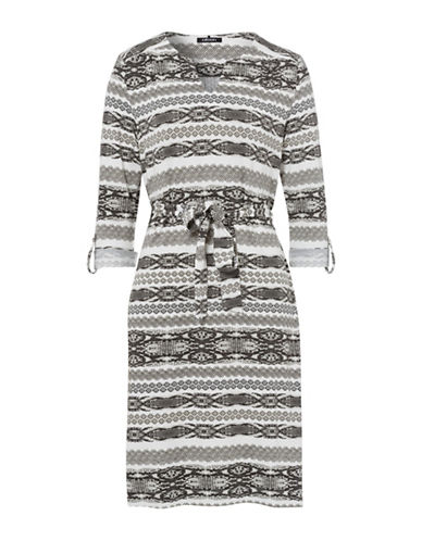Olsen Horizontal Print Dress-MULTI-EUR 36/US 6