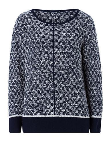 Olsen Tweed Knit Pullover-NAVY-EUR 38/US 8