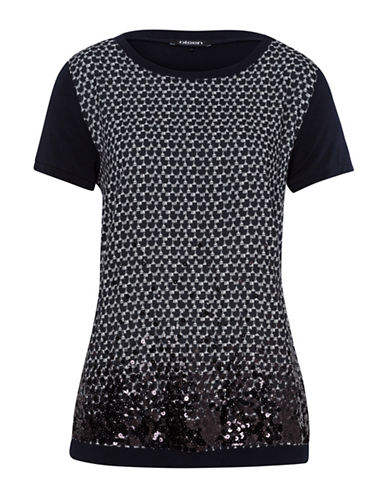 Olsen Beaded Boarder T-Shirt-NAVY-EUR 36/US 6