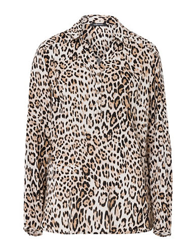 Olsen Animal Tunic Blouse-BEIGE-EUR 36/US 6
