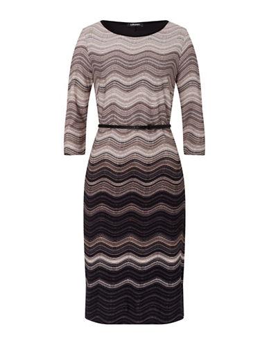 Olsen Wavy Stripe Dress-BEIGE MULTI-EUR 40/US 10