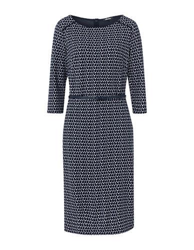 Olsen Small Print Dress-NAVY-EUR 36/US 6
