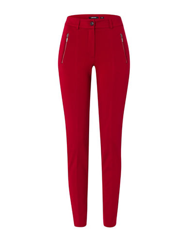 Olsen Ponti Zip Front Pia Pants-RED-EUR 36/US 6