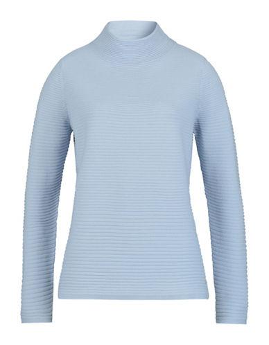 Olsen Mockneck Rib Sweater-BLUE-EUR 44/US 14