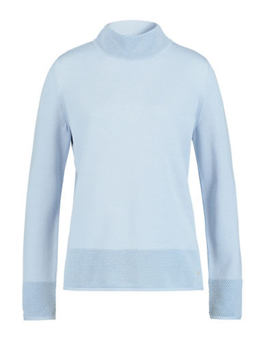 Olsen Textured Cotton Blend Sweater-BLUE-EUR 42/US 12
