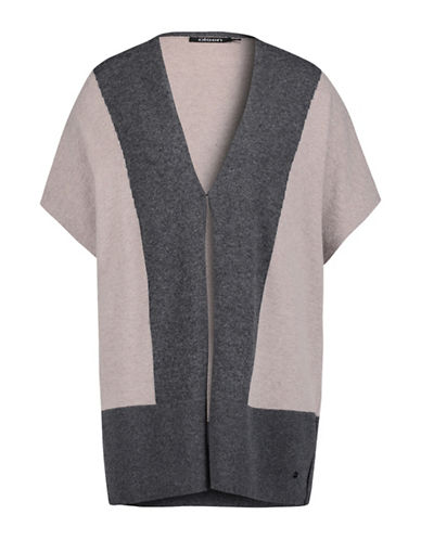 Olsen Colourblock V-Neck Vest-BEIGE-EUR 46/US 16