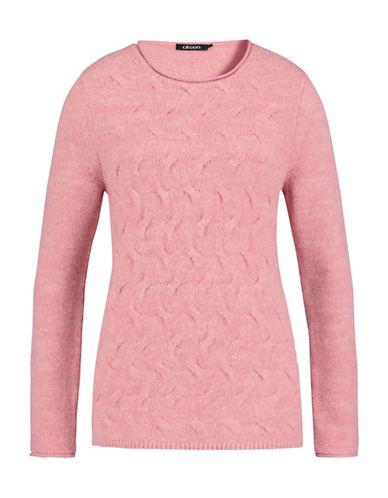 Olsen Textured Cotton Blend Sweater-ROSE CORAL-EUR 46/US 16