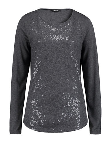 Olsen Long Sleeve Beaded Front Knit Tee-GREY-EUR 46/US 16