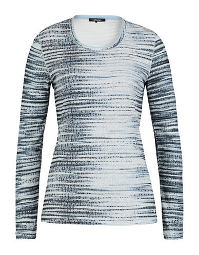 Olsen Printed Long Sleeve Cotton Tee-BLUE-EUR 40/US 10