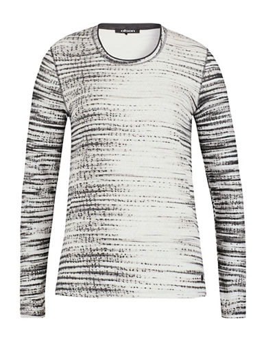 Olsen Printed Long Sleeve Cotton Tee-GREY-EUR 42/US 12