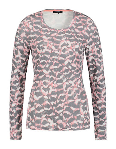 Olsen Abstract Feather Printed Tee-ROSE-EUR 44/US 14