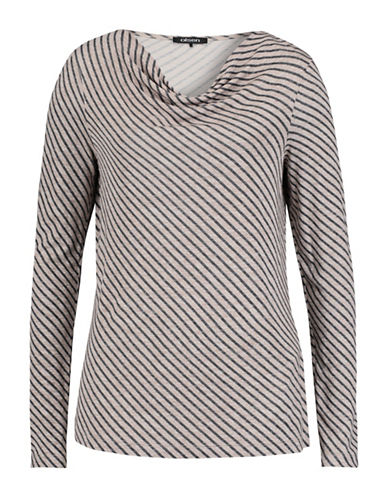 Olsen Diagonal Stripe Long Sleeve Tee-BEIGE-EUR 36/US 6