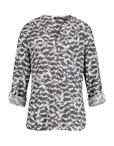 Olsen Abstract Feather Print Blouse-GREY-EUR 36/US 6