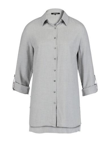 Olsen Long Sleeve Point Collar Shirt-GREY-EUR 38/US 8
