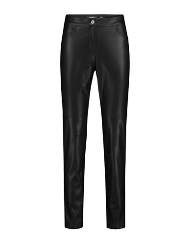 Olsen Faux Leather Front Pants-BLACK-EUR 44/US 14