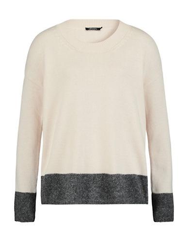 Olsen Crew Neck Blocked Hem Sweater-WHITE-EUR 38/US 8