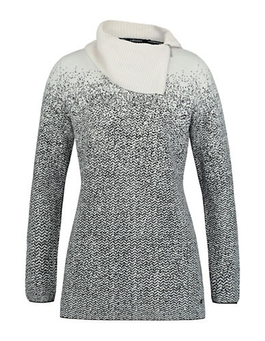Olsen Jacquard Zip Neck Sweater-WHITE-EUR 42/US 12