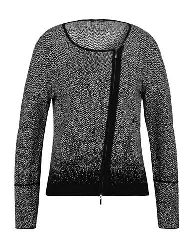 Olsen Jacquard Asymmetrical Zip Cardigan-BLACK-EUR 40/US 10