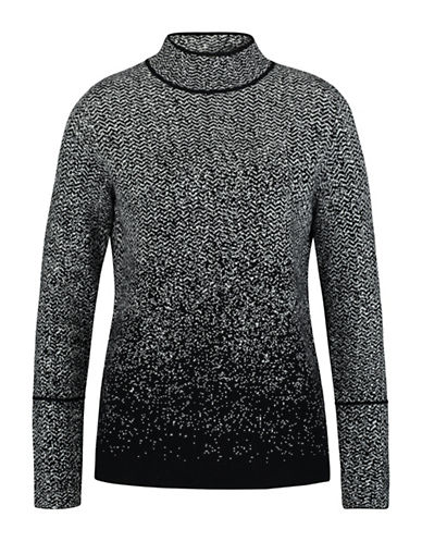 Olsen Jacquard Mock Neck Sweater-BLACK-EUR 40/US 10