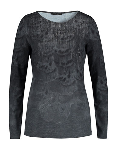 Olsen Placement Feather Printed Tee-GREY-EUR 36/US 6