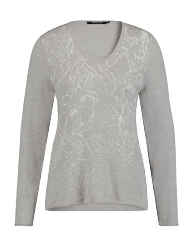 Olsen V-Neck Jacquard Sweater-BEIGE-EUR 42/US 12