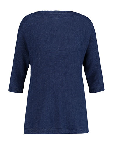 Olsen Side Buttons Sweater-BLUE-EUR 38/US 8