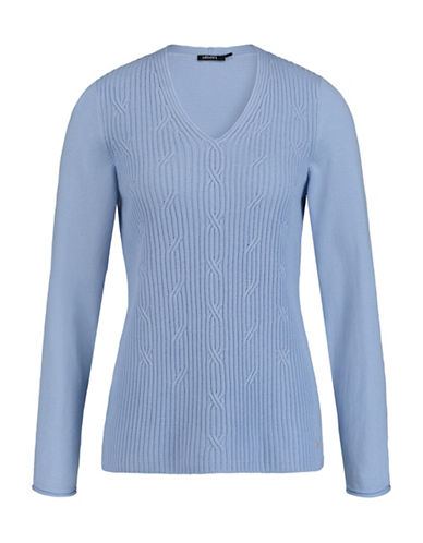 Olsen V-Neck Cable Sweater-BLUE-EUR 34/US 4 88962689_BLUE_EUR 34/US 4