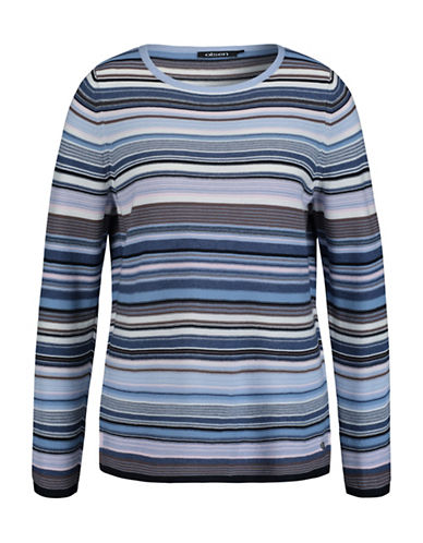 Olsen Striped Long Sleeve Sweater-BLUE MULTI-EUR 42/US 12
