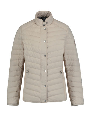 Olsen Stand Collar Quilted Jacket-BEIGE-EUR 40/US 10