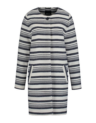 Olsen Bold Striped Coat-BLUE-EUR 46/US 16