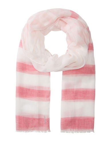 Olsen Striped Fringed Scarf-RED-One Size
