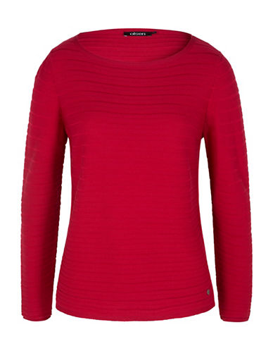 Olsen Reverse Knit Striped Pullover-RED-EUR 40/US 10