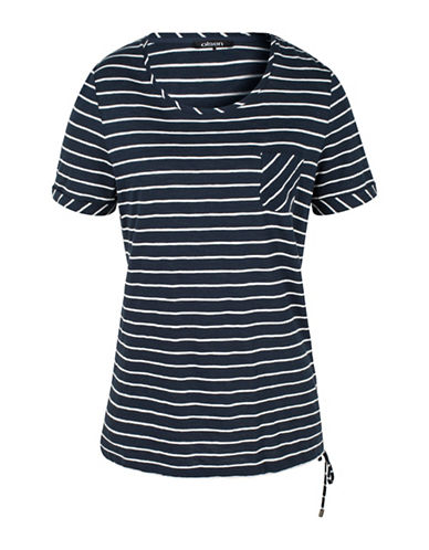 Olsen Side Rouch Striped Tee-BLUE-EUR 34/US 4