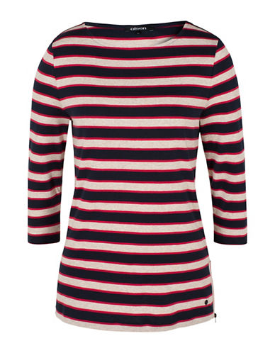 Olsen Side Zip Striped Tee-MULTI-EUR 44/US 14