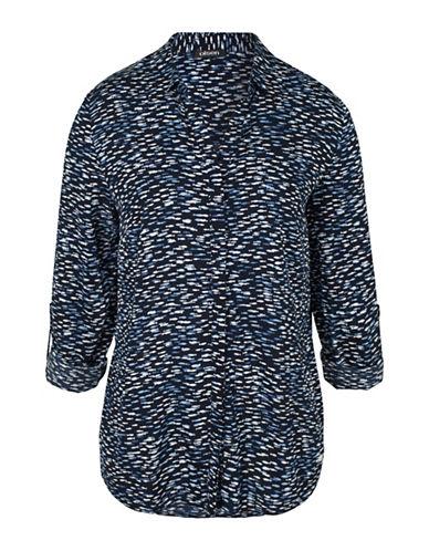 Olsen Fish Print Shirt-BLUE MULTI-EUR 36/US 6