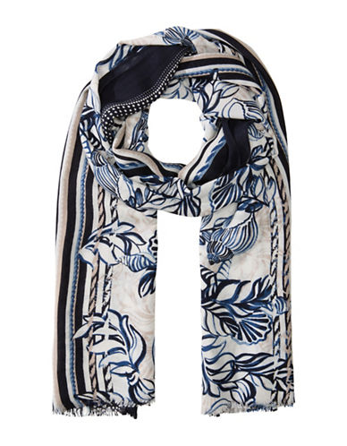 Olsen Shell Boarder Shawl-MARINA-One Size
