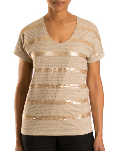 Olsen Havana Club Sequin Striped Tee-BEIGE-EUR 36/US 6