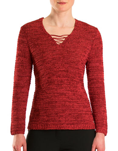Olsen Havana Club Tape Yarn Sweater-RED-EUR 42/US 12