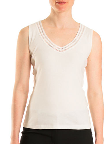 Olsen Lattice Detail Sleeveless Top-WHITE-EUR 46/US 16
