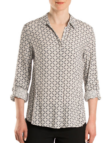 Olsen Havana Club Medallion Print Shirt-BEIGE MULTI-EUR 38/US 8