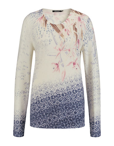 Olsen Printed Long Sleeve Sweater-BLUE MULTI-EUR 42/US 12